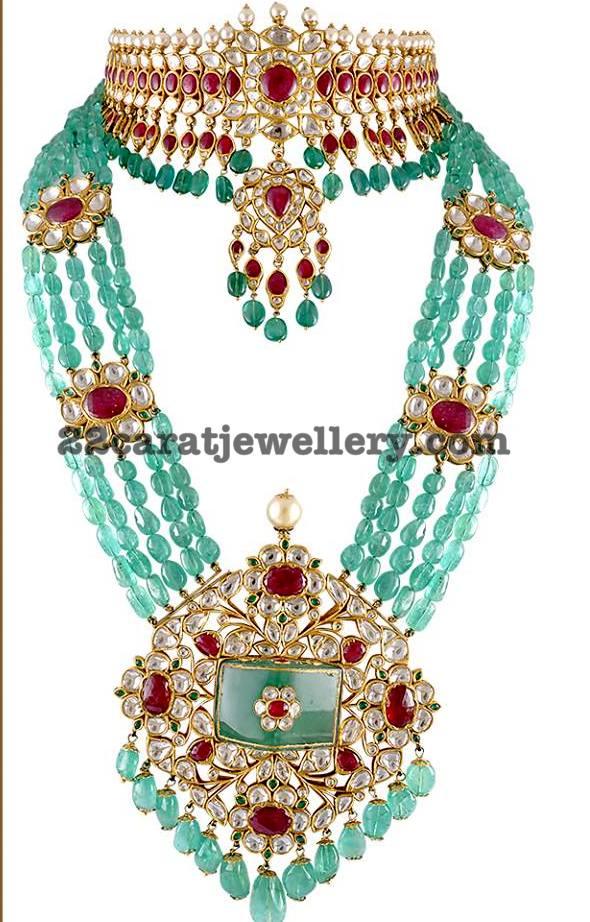 Kundan Choker And Emerald Beads Set Jewellery Designs