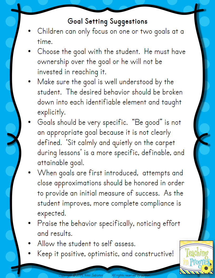 Using individual goal setting to balance the needs of students with behavior challenges with the needs of the rest of the class.