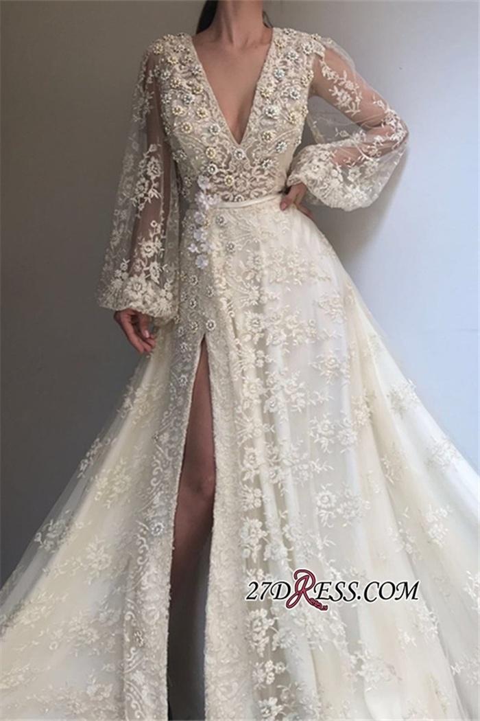 https://www.27dress.com/p/side-slit-v-neck-long-sleeves-applique-lace-a-line-sexy-prom-dresses-109894.html