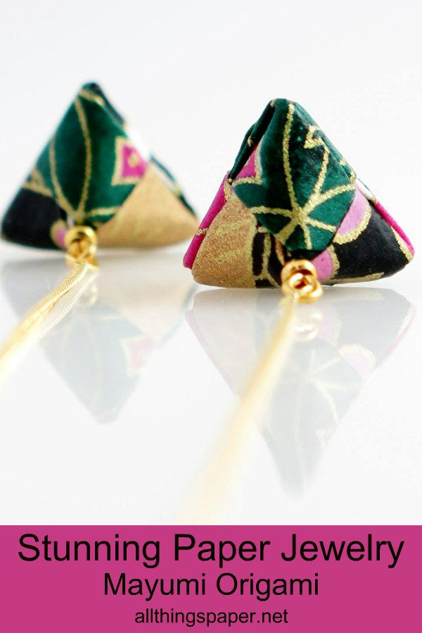pink and green Japanese paper drop earrings