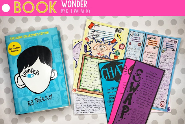 Doodle notes, task cards, and lesson plans for Wonder by R.J. Palacio