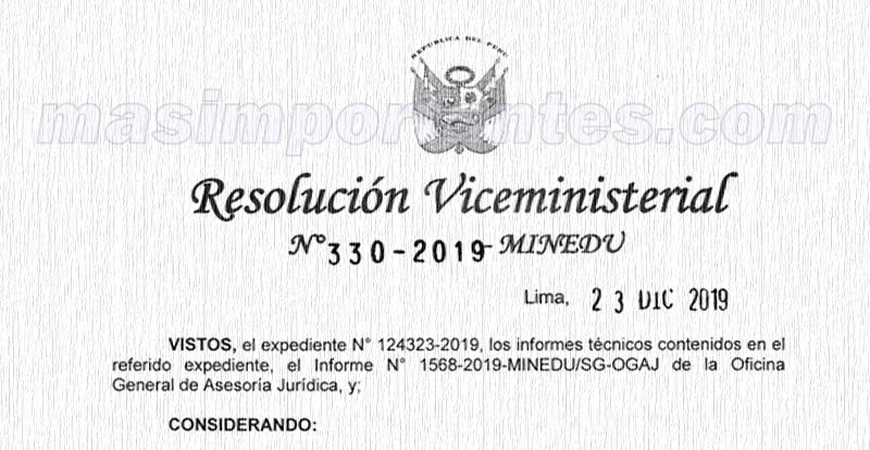 RVM 330-2019-MINEDU REGIEP