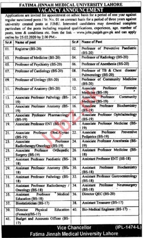 Jobs in Fatima Jinnah Medical University Lahore 2020