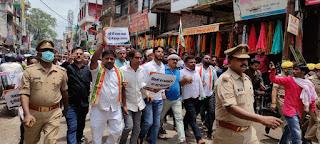 कांग्रेसियों ने भाजपा गद्दी छोड़ो मार्च निकालकर किया प्रदर्शन  | #NayaSaberaNetwork