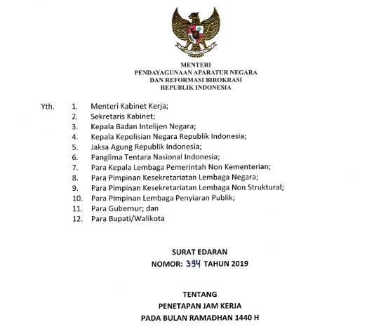 Surat Edaran MENPAN RB Tentang Penetapan Jam Kerja Pada Bulan Ramadhan 1440 H