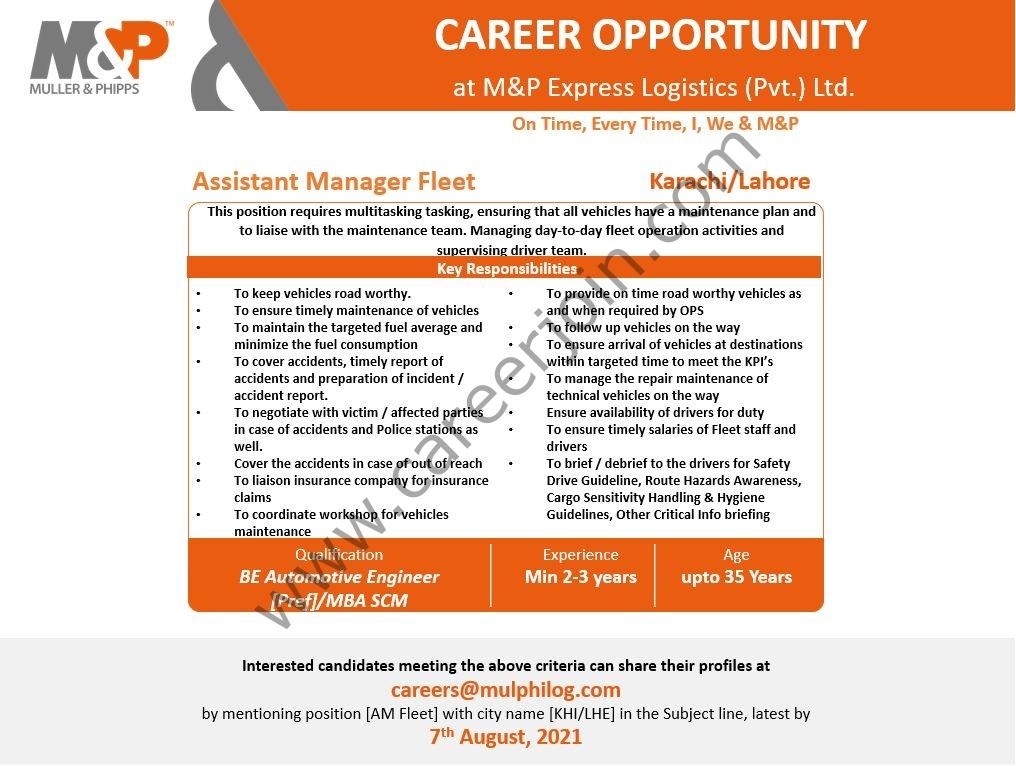 M&P Express Logistics Pvt Ltd Jobs Assistant Manager Fleet