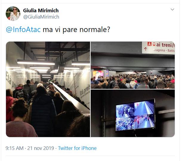 Situazione del trasporto pubblico di Roma di giovedì 21 novembre