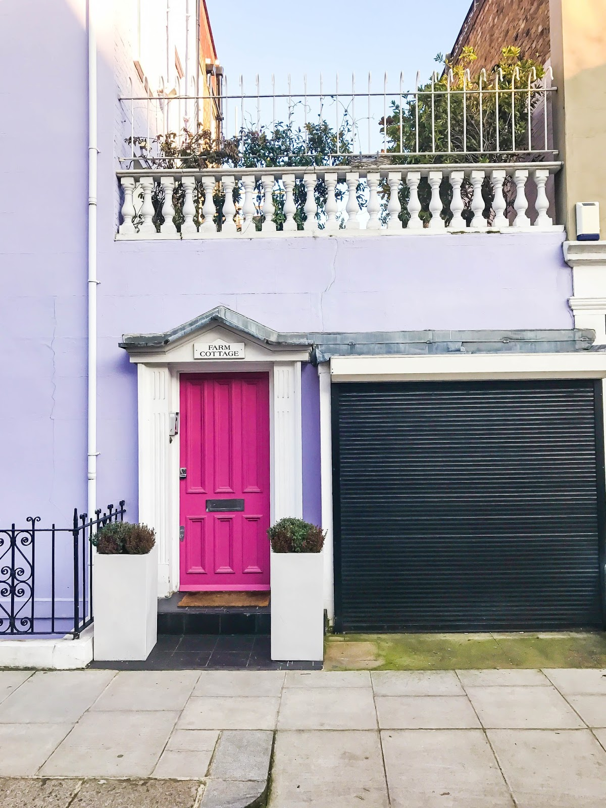 Purple house with pink door