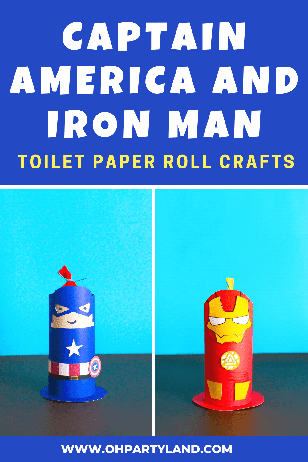captain america and iron man paper roll crafts