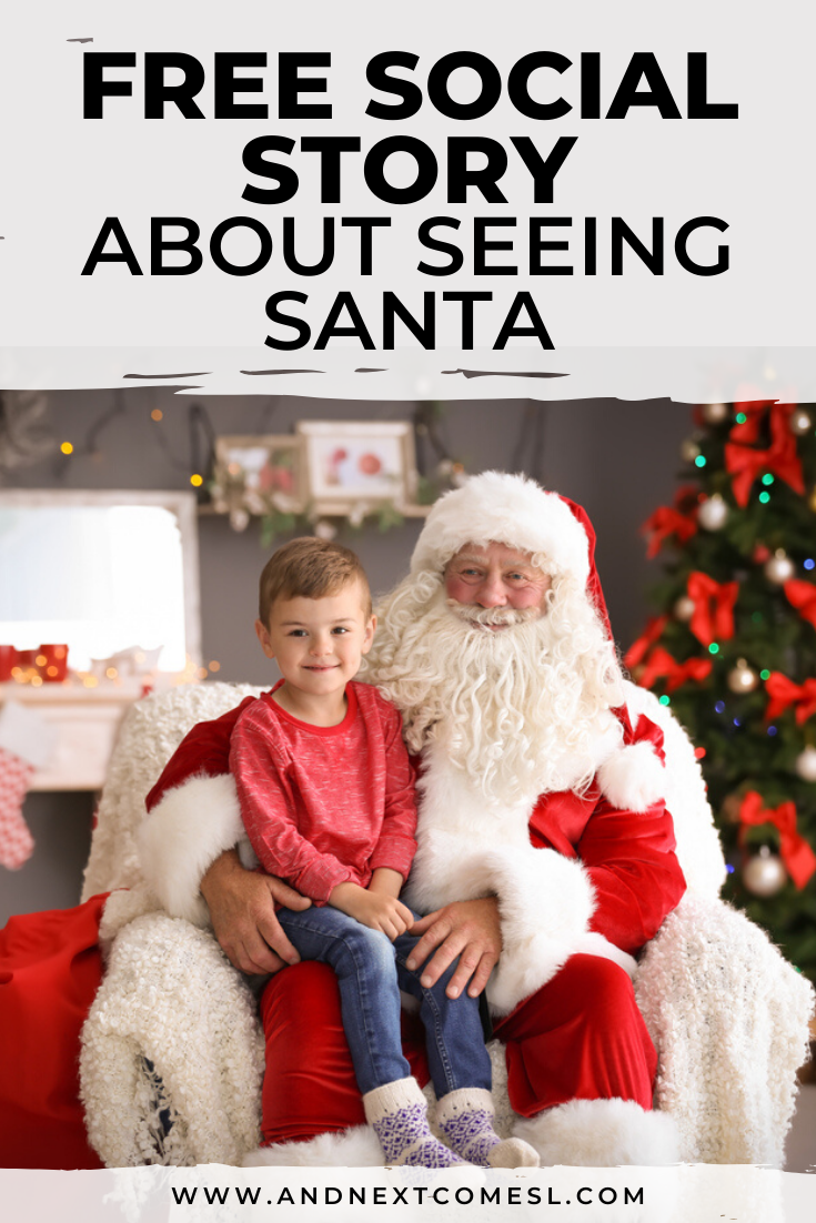 Free printable Christmas social story for kids with autism about seeing Santa