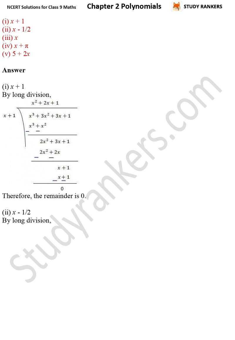 NCERT Solutions for Class 9 Maths Chapter 2 Polynomials