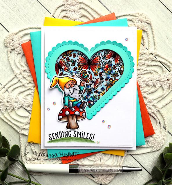 Sending Smiles Shaker Card by Larissa Heskett   Gnome Garden Stamp Set, Heartfelt Butterflies Stamp Set, and Heart Frames Die Set by Newton's Nook Designs #newtonsnook