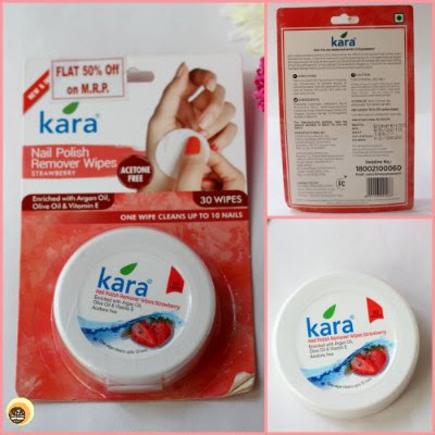 Kara Nail Polish Remover Wipes Strawberry Review and packaging