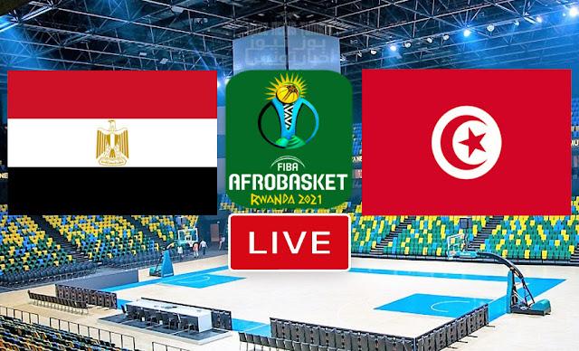 مباراة تونس و مصر كرة السلة كأس الأمم الأفريقية - الأفروبسكات 2021