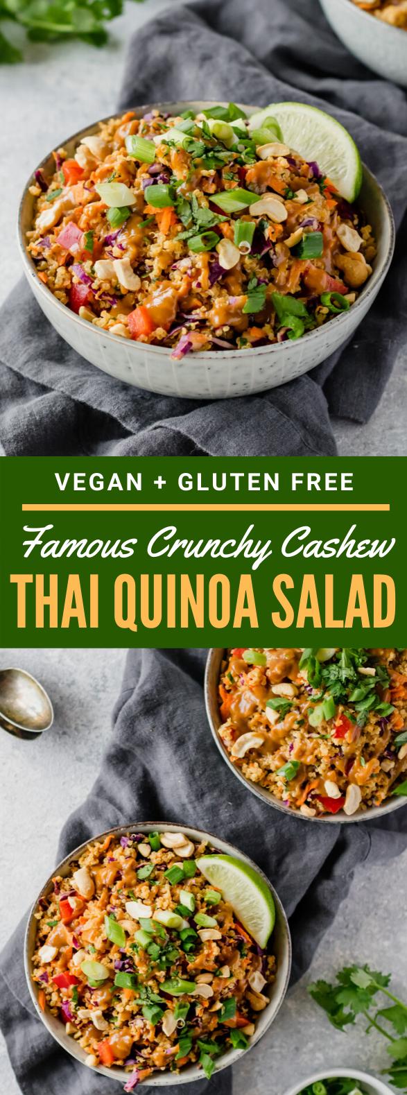 Famous Crunchy Cashew Thai Quinoa Salad {vegan & gluten-free} #vegetarian #lunch