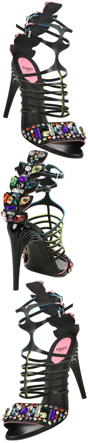 Fendi Encaged Jewel-Embellished Leather Sandals