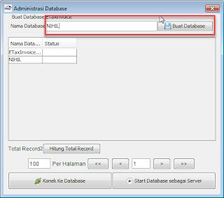 Cara Membuat Database Baru Efaktur