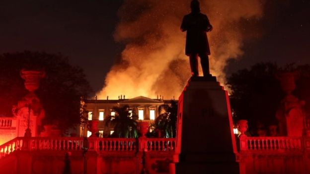 Brazil's 200-year-old national museum hit by huge fire