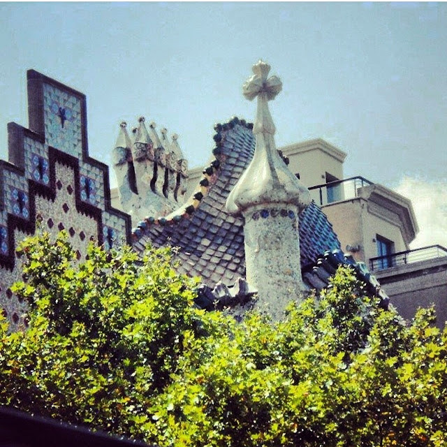 The roof of the Gaudi building in Barcelona