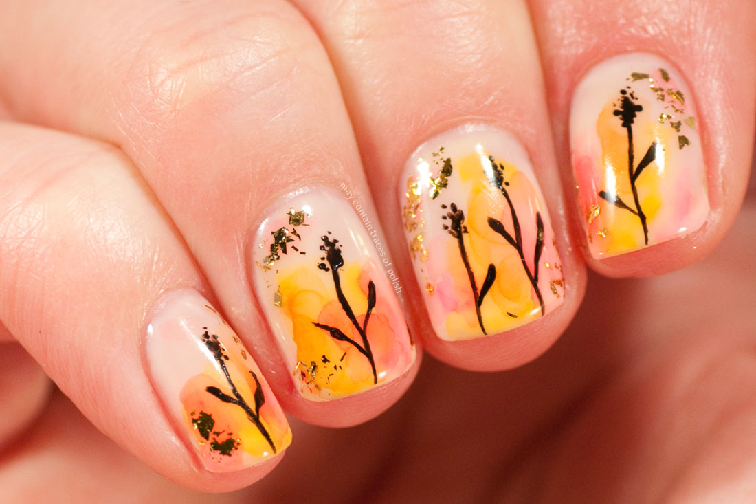 Abstract Watercolour Gel Nail Art with Gelish Need a Tan and Sharpies