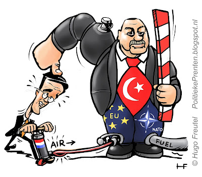 cartoon Rutte onder de duim van Erdogan