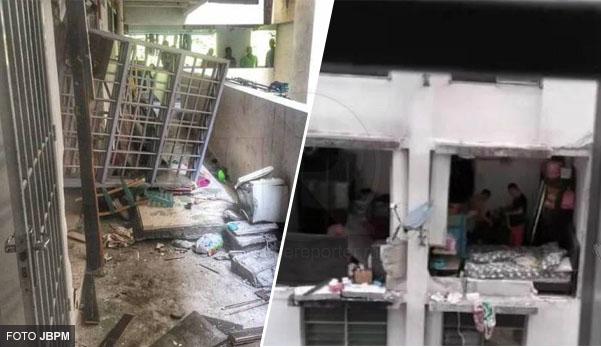 Dinding bilik runtuh akibat letupan dalam rumah (7 gambar)