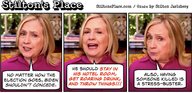 stilton's place, stilton, political, humor, conservative, cartoons, jokes, hope n' change, hillary clinton, biden, election, concede, drunk, tyranny, bitch