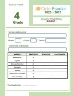Examen Trimestral Bloque 1 Cuarto grado 2020-2021