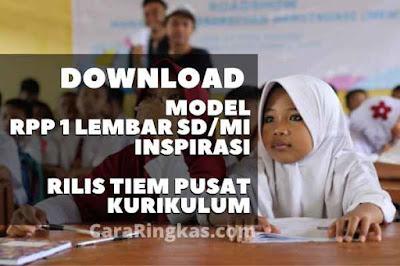 Model RPP 1 Lembar SD/MI Format Resmi Kemendikbud