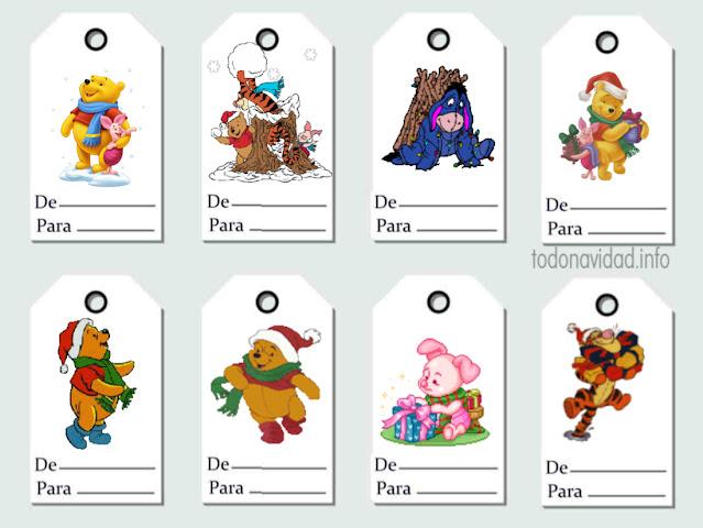 Etiquetas regalos de Winnie the pooh en Navidad