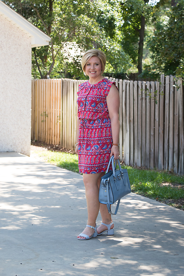 pops of blue, red print dress, summer dress, summer fashion