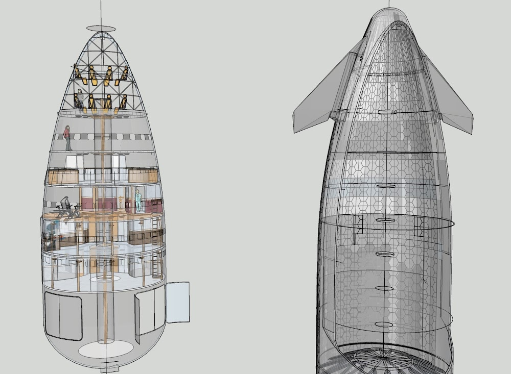 Speculative interior schematics of SpaceX Starship by Michel Lamontagne