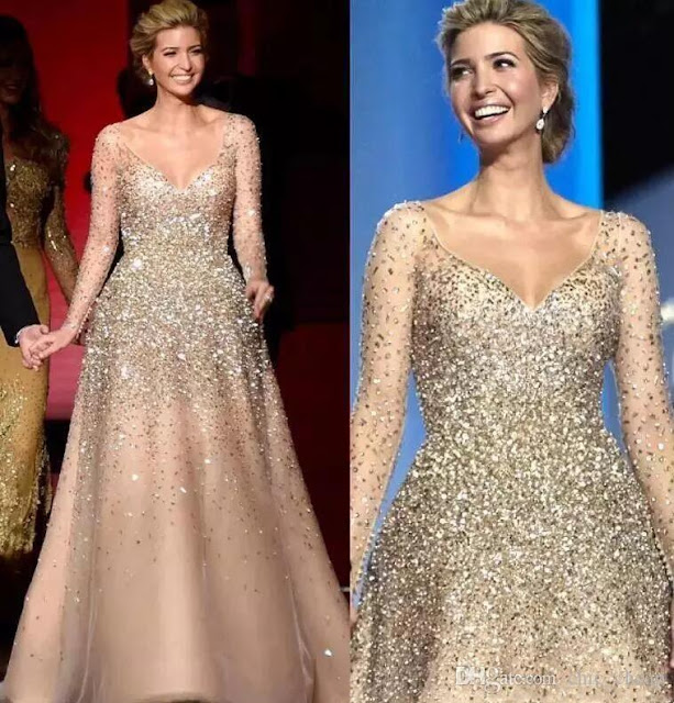 Ivanka Trump Inaugural Long Sleeves V-Neck Crystals Major Beading Hand Made Luxurious Evening Dresses A-Line Classic Prom Dresses
