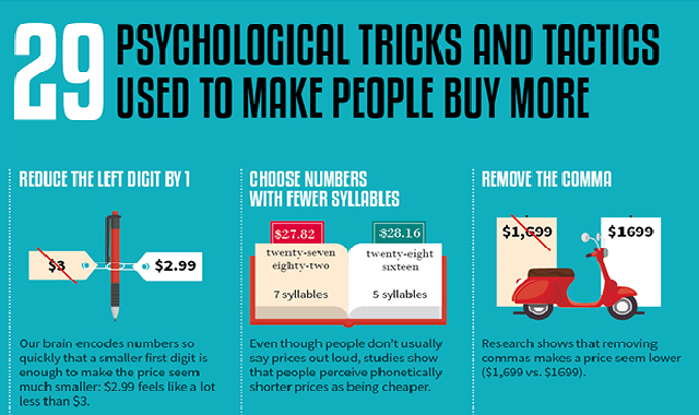 29 Psychological Pricing Tricks and Tactics Used to Make People Buy More #infographic
