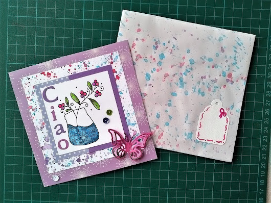 Splatter painting and bubble wrap stamping to create card backgrounds