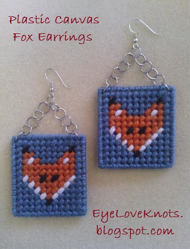 EyeLoveKnots: Plastic Canvas Fox Earrings