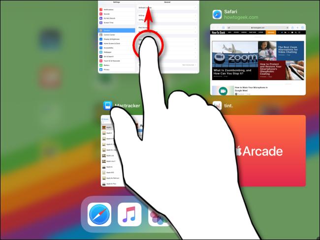 إغلاق تطبيق عبر App Switcher على iPad