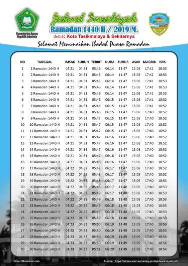 Jadwal Sholat Kota Tasikmalaya-Ramadhan 2019-Waktu Maghrib, Waktu Imsak di Bulan Puasa 2019-1440 Hijriyah