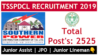 tsspdcl notification 2019 junior lineman JPO junior assistant job's