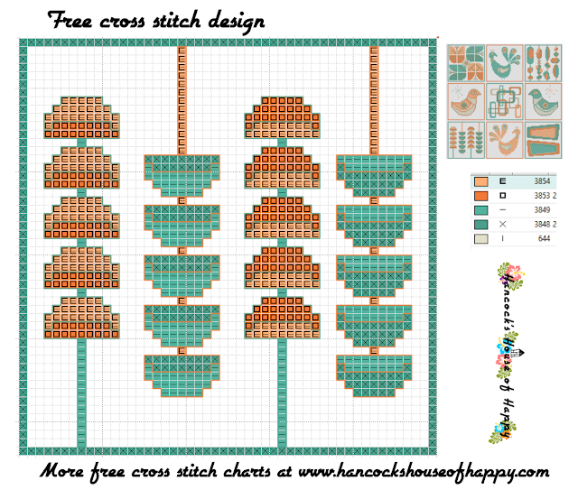 Mid-Century Madness: Free Country Style Mid-Century Cross Stitch Sampler Design Part VII