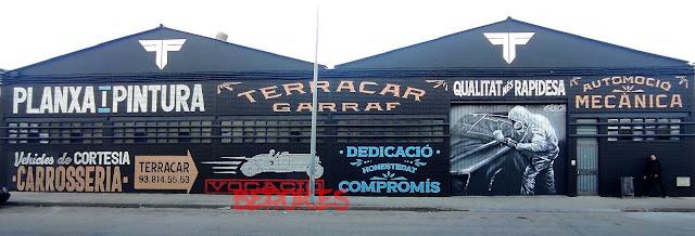 Decoración pintura mural taller vehículos