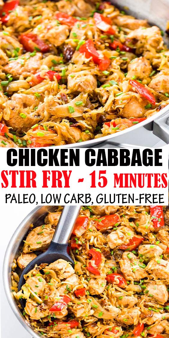 CHICKEN CABBAGE STIR FRY - 15 MINUTES (PALEO, LOW CARB, GLUTEN-FREE)