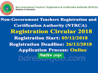 15th NTRCA Registration Circular 2018