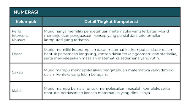 Hasil AKM dilaporkan dalam empat kelompok yang menggambarkan tingkat kompetensi yang berbeda.
