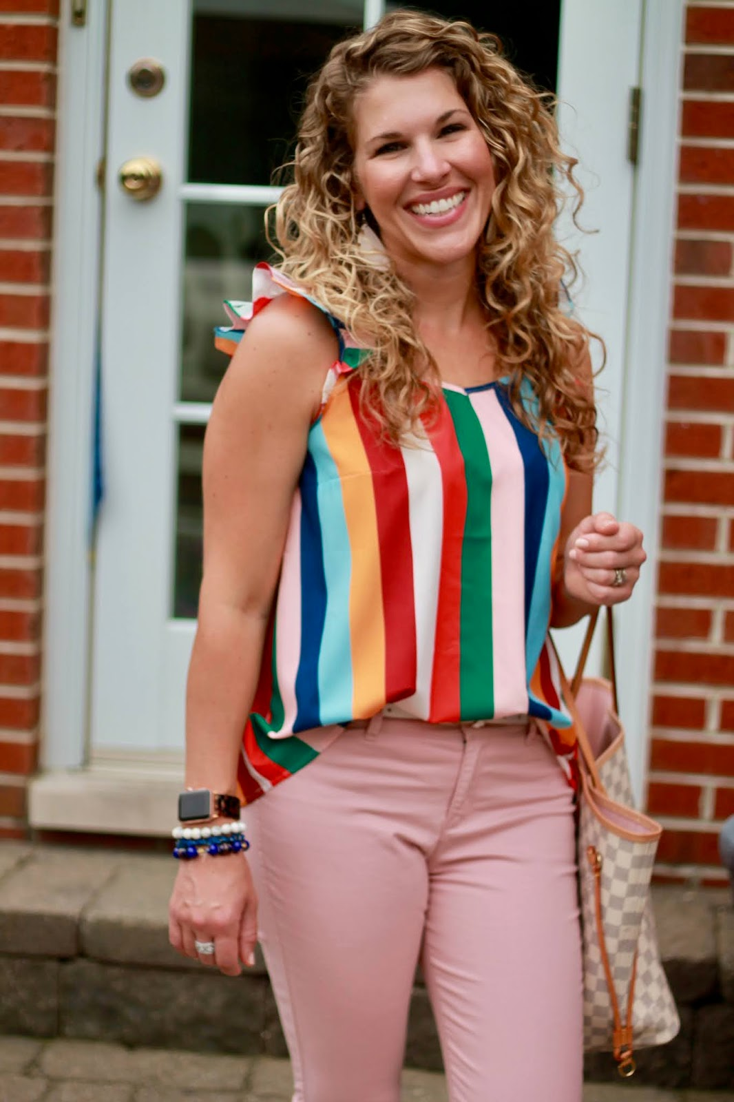 rainbow striped tank, summer outfit, pink pants, multi color Tory Burch miller sandals