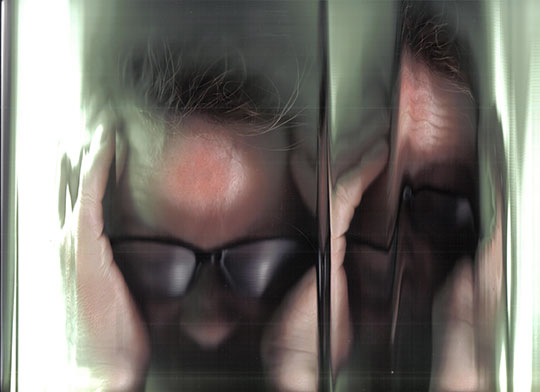 self portrait, photography, contemporary art, contemporary artist, scanner head, modern art, modern photography, Sam Freek,