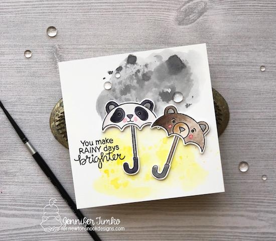 Umbrella animals Card by Jennifer Timko | Umbrella Pals Stamp Set and die set by Newton's Nook Designs #newtonsnook #handmade