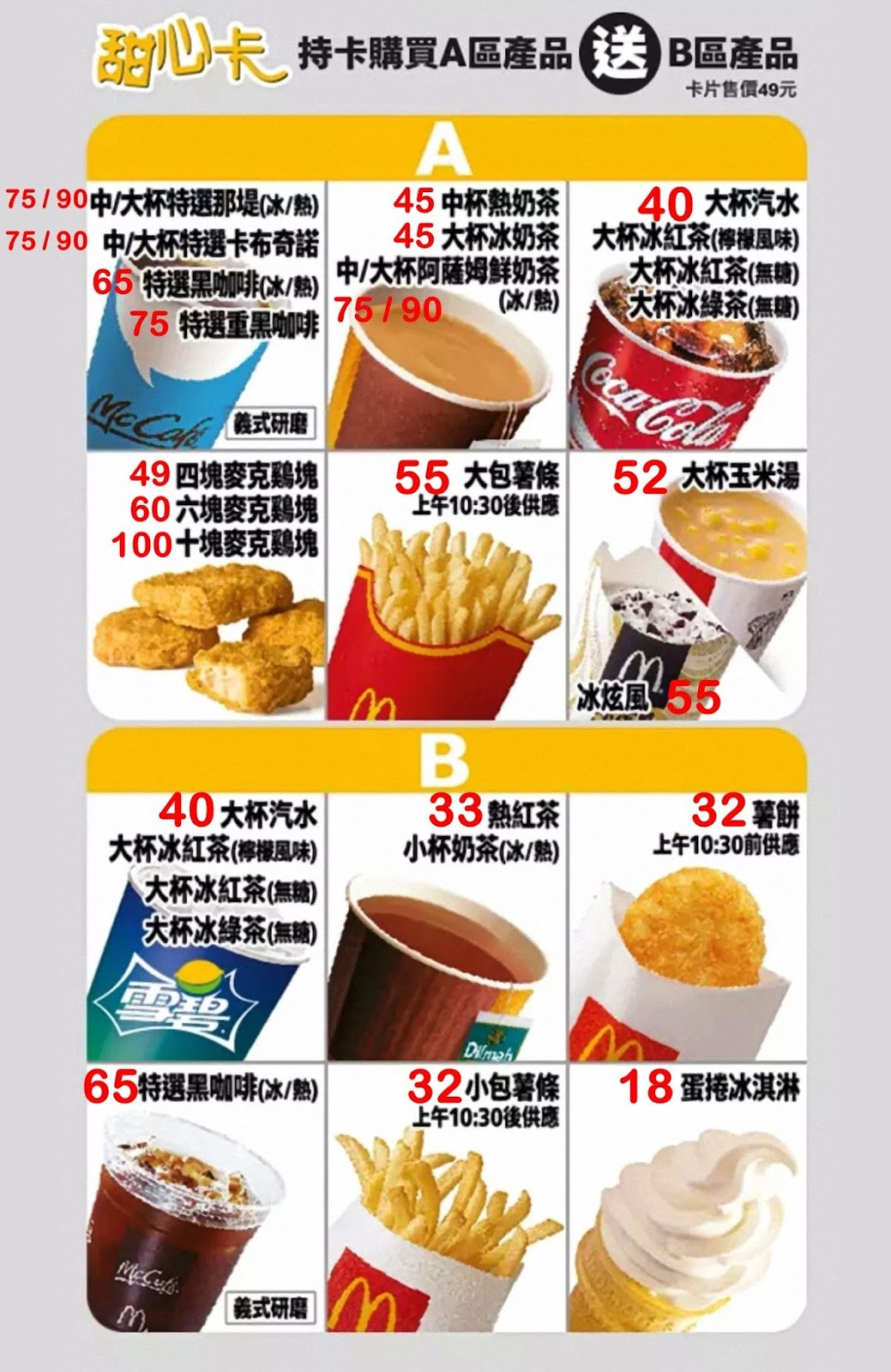 【麥當勞】2020甜心卡優惠