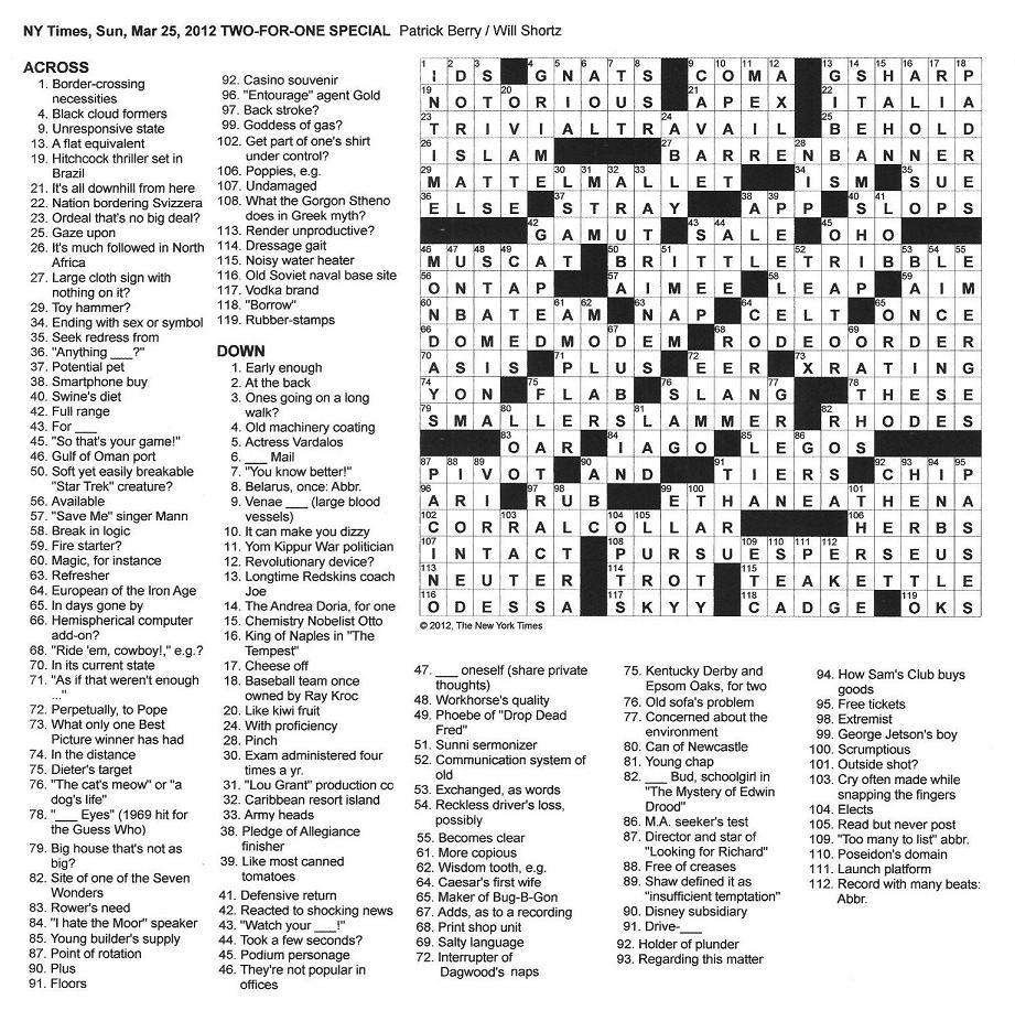 The New York Times Crossword in Gothic: 03.25.12 — Two-For-One