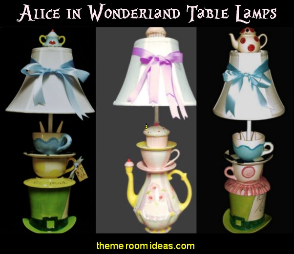 Mad Hatter Tea Party Lamp alice in wonderland table lamps alice in wonderland bedroom decor alice bedrooms